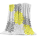 Big buy store Floral Dahlia Luxurious Flannel Throw Blanket for Bedroom Living Room Sofa Couch Chair, Lightweight Warm Fleece Blankets for All Seasons, Gray Yellow -40 x 50 inch