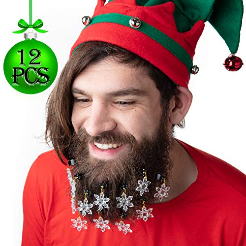 12 pcs Snowflake Christmas Beard Ornaments w Easy Clip - Show Holiday Spirit on Your Facial Hair - Great Gag Gift or Decorative Accessory for Ugly Christmas Sweater Parties, White Elephant and More