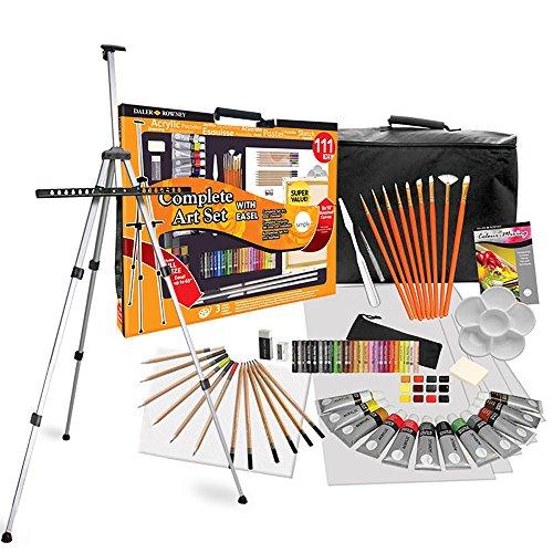Daler Rowney - Set Completo de Pintura 111 Piezas y Set de Dibujo XXL con Caballete, Colores, lápices y Lienzo