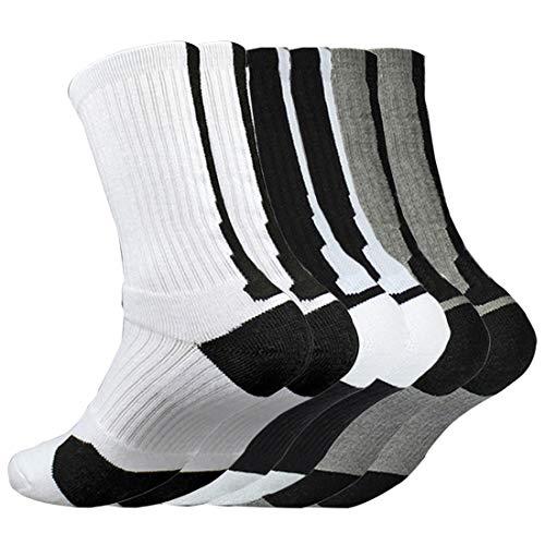 Litthing Calcetines Deportivos Antideslizantes de Algodón para Hombre Desodorante Respirables para Baloncesto Fútbol Yoga de Balonmano Correr engrosamiento de Ciclismo (Largo, 6)
