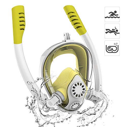 HJKB Snorkel Masker Goggles Full Face 180° Grote Weergave 2019 NIEUWE Dual Tube met Afneembare Mount voor GoPro Action Camera, Gemakkelijk Ademen & Anti-Fog Anti-Leak Ontwerp Grootte XS voor Kinderen Geel