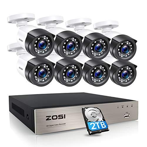 ZOSI 1080P Kit de Cámara Vigilancia 8CH H.265+ Grabador DVR con (8) Cámara de Seguridad Exterior, 20m Visión Nocturna, Alarma de Movimiento, 2TB Disco Duro