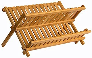 Sagler wooden dish rack plate rack Collapsible Compact dish drying rack Bamboo dish drainer