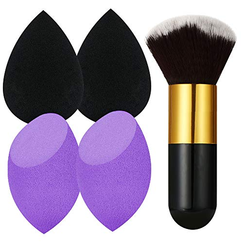 Makeup Sponge,Beauty Sponge blender set and Cosmetics Foundation Blending Sponges-For Powder,Cream or Liquid Application Multi-color (4+1)