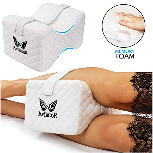AviiatoR Orthopedic Knee Pillow Memory Foam For Side Sleeping, Support for Lower Leg, Pregnancy, Sciatica, Back, and Hip Pain Relief - Wedge Contour Leg Pillow with Washable Cover
