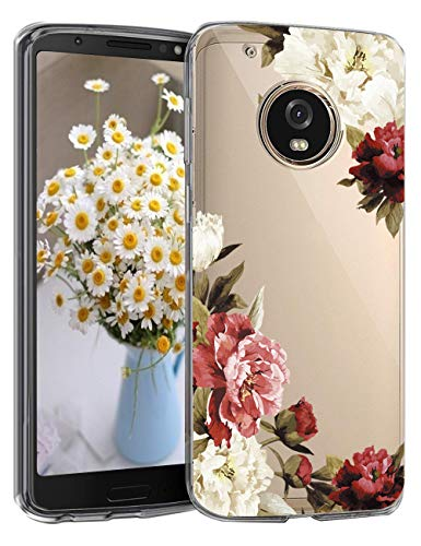 Compatible with Motorola Moto G5 Plus Case Clear Flower Panda Pattern Ultra Slim Soft Silicone TPU Bumper Case Shockproof Anti Scratch Protective Transparent Floral Cover Moto G5 Plus (F)