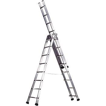 WOLFPACK LINEA PROFESIONAL 23020680 Escalera Aluminio Industrial Pronor 3 Tramos.12 12 Peldaños: Amazon.es: Bricolaje y herramientas