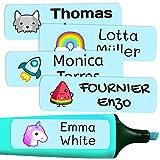 50 Etiquetas Adhesivas Personalizadas, de 6 x 2 cms, para marcar objetos, libros, fiambreras, etc. Color Azul Pastel
