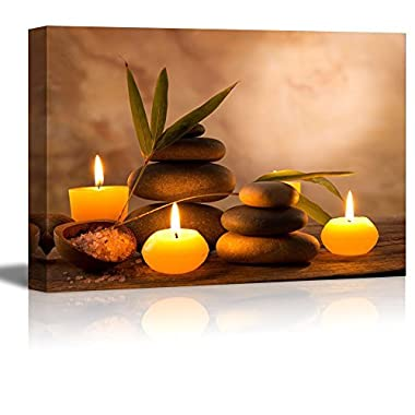 Canvas Prints Wall Art - Spa Still Life with Aromatic Candles and Zen Stones | Modern Wall Decor/Home Decoration Stretched Gallery Canvas Wrap Giclee Print & Ready to Hang - 24  x 36
