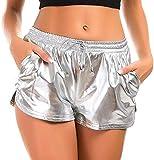 FITTOO Pantaloncini Sportivi Casual Donna Elastico Yoga Legging Pigiami Corti per Jogging Fitness Esecuzione Palestra Spiaggia, XL, Argento