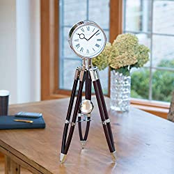 FirsTime & Co. Tripod Pendulum Wall Clock, 28 H x 10 W x 10 D, Chrome/Espresso