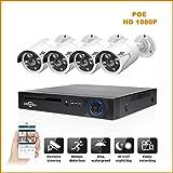 Magic Eye 4MP PoE Kit de Sistema de cámara de Seguridad H.265 8CH Grabación de Audio Cámara IP IR Exterior WiFi Cámara doméstica Impermeable CCTV Video vigilancia NVR Set (4 vías 4MP)