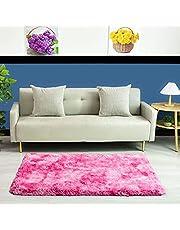 QUANHAO Supermjuk plyschmatta, modern fluffig inomhusmatta, halkfri matta, tjock matta, lämplig för heminredning, dagismatta, barnmatta