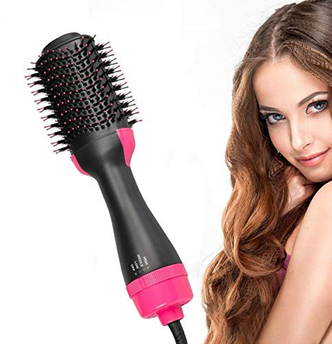 Hot Air 3-in-1 Hair Styler,Hair Dryer Brush Ceramic Electric Blow Dryer Rotating Straightener Curl Brush