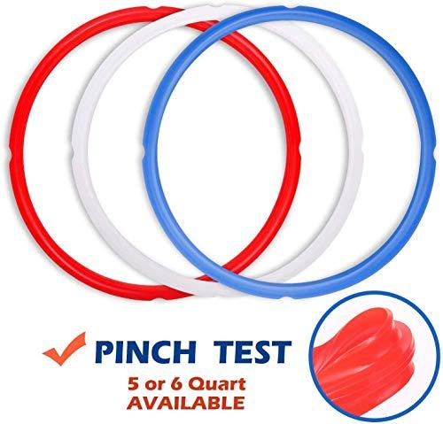 Poweka Silikondichtungsring für Schnellkochtopf, Rot & Blau & Weiß transparent passend für...