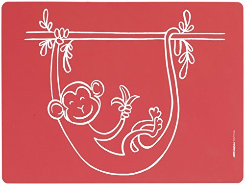 modern-twist MT 011588 Baby Set de Table d'affaires Singe, Silicone, Rouge, 40 x 32 x 1,12 cm