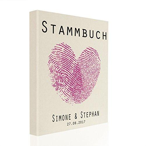 Hochzeitideal Stammbuch der Familie inkl. Personalisierung Leinen Creme Nr. 44