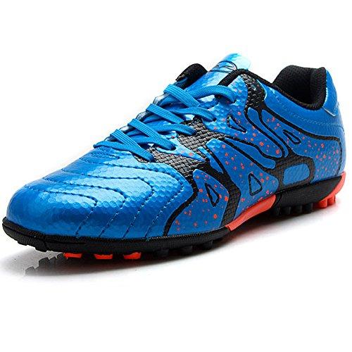 Tiebao Niños Difícil Suelo Artificial Velocidad PU Cuero Fútbol Zapatos (Azul, Niño pequeño EU34)