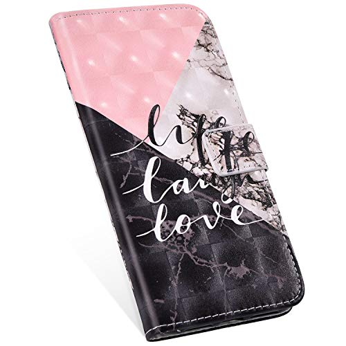 Ukayfe Compatibile con Huawei Mate 10 lite Custodia,Creativo 3D Design Dipinto Modello PU Pelle Chiusura Magnetica Stand Flip Caso Cover Portafoglio a Libro PU Leather Case-Rosa bianco nero