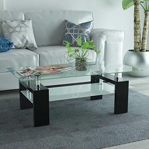 SENLUOWX Table Basse avec étagère inférieure 110 x 60 x 40 cm Noir