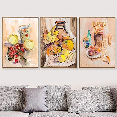 aquarel appel oranje fruit wijn glas muur kunst canvas schilderijen, Scandinavische affiches en afdrukken Cartoon muur foto's 50x70cmx3 geen frame