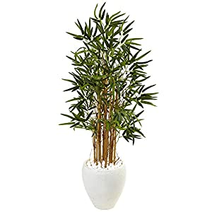 Nearly Natural 4' Bamboo Artificial Tree in White Oval Planter, 4ft, Green