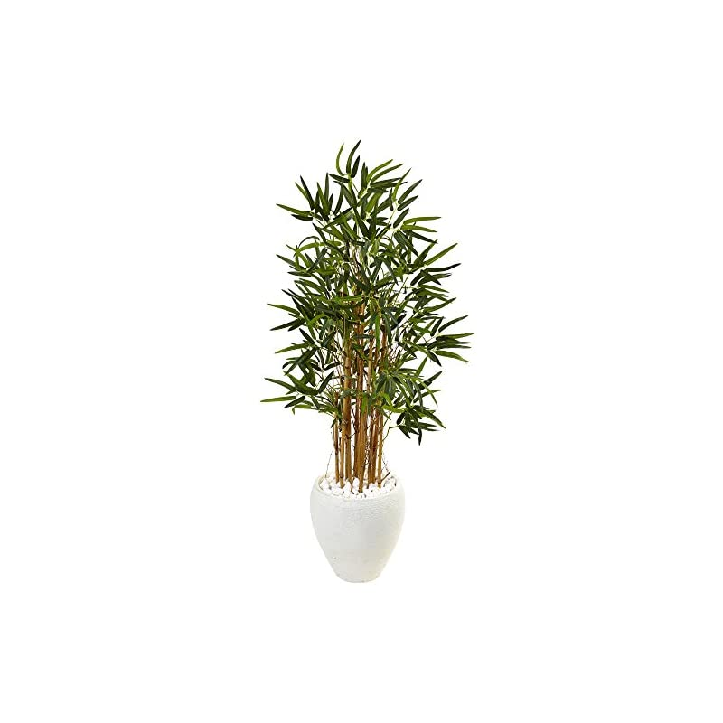 silk flower arrangements nearly natural 4' bamboo artificial tree in white oval planter, 4ft, green