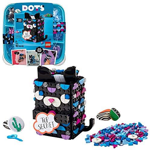 LEGO 41924 DOTS Geheimbox Katze, Kinderzimmer-Deko, Bastelset für Jungen und Mädchen