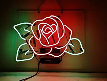 Red Rose Neon Light Beer Bar Pub Party Flower Store Shop Recreation Room Wall Window Display Neon Signs 19x15