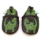 Dotty Fish weiche Leder Babyschuhe mit rutschfesten Wildledersohlen. 3-4 Jahre (27 EU). Braune Schuhe mit grünem Dinosaurier Design. Jungen und Mädchen. Kleinkind Schuhe.