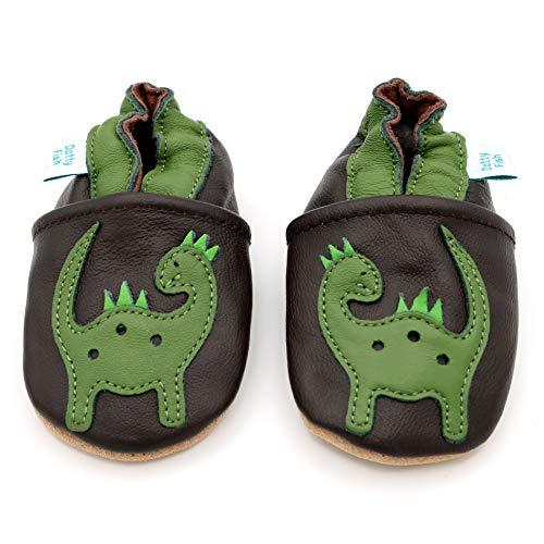 Dotty Fish weiche Leder Babyschuhe mit rutschfesten Wildledersohlen. 2-3 Jahre (25 EU). Braune Schuhe mit grünem Dinosaurier Design. Jungen und Mädchen. Kleinkind Schuhe.