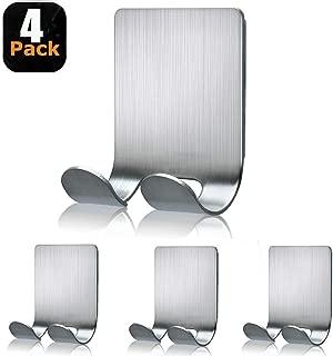 Razor Holder for Shower Shaver Holder Hook Hanger Stand Stainless Steel Utility Storage Self Adhesive Hooks Bathroom Kitchen Organizer for Razors Plug Robe Towel Loofah Bathrobe Coat-4 Packs