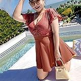 JJZXD Traje De Baño Mujeres De Una Pieza Acolchada Plus Stands Trajes De Baño 3xl-6xl para Mujer SWM Trajes con Falda Empuje hacia Arriba Trajes De Baño Damas (Color : Brown, Size : XXXLcode)