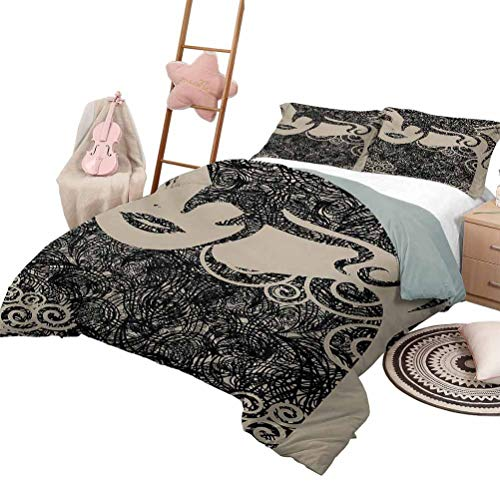 Quilt Set for Kids Modern Soft Lightweight Coverlet for All Season Woman with Cool Posing Wavy Sexy Hot Hair Vamp Makeup Vintage Image Print Queen Size Tan and Dark Taupe