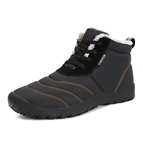 Schneestiefel Herren Damen,Popoti Winterschuhe Warm Unisex Winterstiefel Kurzschaft Ankle Boots Stiefel Outdoor Camping Wandern Winter Stiefeletten (Schwarz-2, 42)