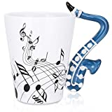 LanHong - 13.5 oz Sax Mug Musical Notes Design Coffee Cup Ceramic Music Saxophone Cup Gift for Friend