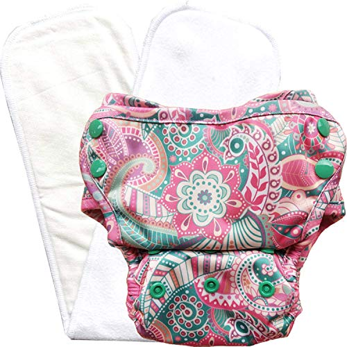 Bumpadum One Size Stay-Dry Reusable Economical Cover Diaper with Stay Dry Organic Cotton Insert (Torana)