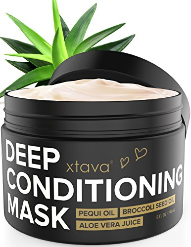 Xtava Deep Conditioning Hair Mask Treatment - 8 Fl.Oz Hydrating Cream with Pequi Oil & Aloe Vera Juice for Dry and Damaged Hair - Anti Frizz Conditioner Moisturizer Masks for Straight and Curly Hair