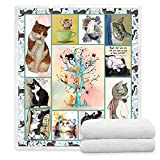 YunTu Cat Throw Blankets for Kids and Adults Super Soft and Warm Sherpa Throw Blankets for Couch and Sofa Gifts for Cat Lovers Fluffy Cute Blanket