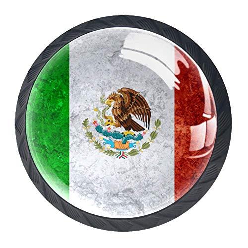 Runde Schrankknöpfe und -griffe, Möbelgriffe und -griffe für Schränke, Kommoden, Schubladen, mexikanische Flagge, Vintage-Stil