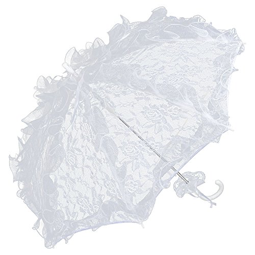 VON LILIENFELD Spitzenschirm Damen Accessoire Brautschirm Hochzeitsschirm Automatik Désirée weiß