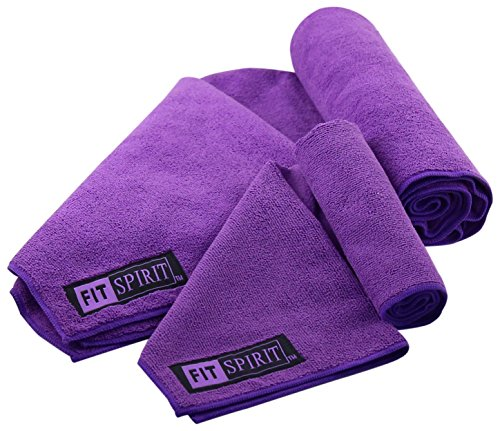 FIT SPIRIT Microfiber Sport Towel and Hand Towel, Purple