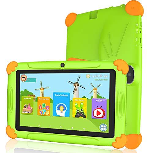 Tablet niños con Wifi 3 GB Ram 32 GO Rom Tablet para niños 7 pulgadas Android-Google Play y control parental, Youtube, Quad Core Tableta - Verde