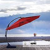 Grand patio Deluxe Napoli 11 FT Curvy Aluminum Offset Umbrella, Patio Cantilever Umbrella with Base, Brick Red