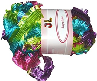 Angelika Fringe Ribbon Yarn #804 Parrot Pack of 3 Balls