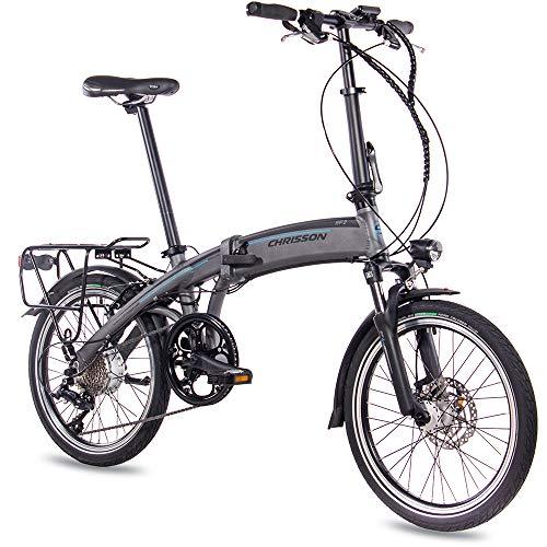 CHRISSON 20 inch E-bike vouwfiets EF2 grijs mat - E-vouwfiets met Bafang naafmotor 250 W, 36 V, 30 Nm, Pedelec vouwfiets voor dames en heren, praktische elektrische vouwfiets