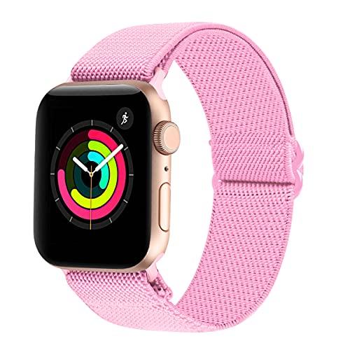 Tervoka Correa deportiva compatible con Apple Watch, 40 mm, 38 mm, correa de tela de nailon, correa de repuesto para iWatch Series 6/SE/5/4/3/2/1, color rosa arena