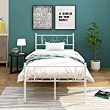 HOMERECOMMEND Metal Bed Frame Platform with Headboard and Footboard Box Spring Replacement Mattress Foundation Heavy Duty Steel Slats (Twin,White)