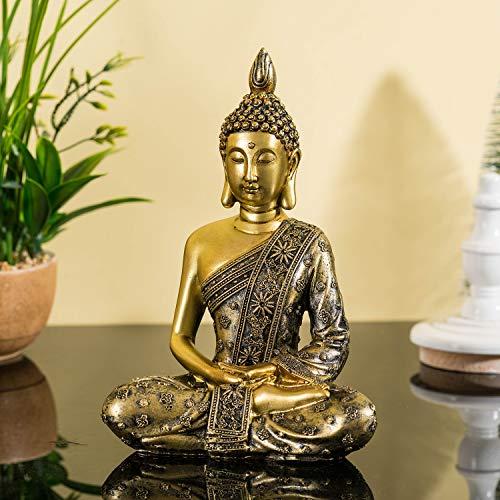 Buddha sitzend, Klein Buddha Figur, Buddhafigur aus Kunststein Skulptur asiatischer Stil Dekoration für Ihr Wohnung Haus Büro Zen-Garten H 20cm (Meditation)