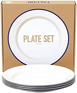 Falcon Enamelware Set of 4 Plates Dinner Plates Lunch Plates in White with Pigeon Grey Rim 24cm 9.4